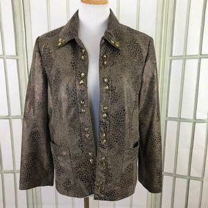 Alfred Dunner Open Front Jacket Blazer Embellished